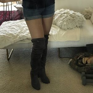 Thigh High suede Gray Boots